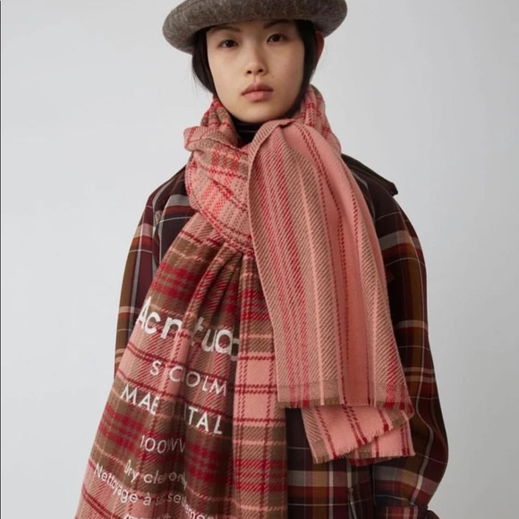 Acne studio Checked logo scarf pale pink